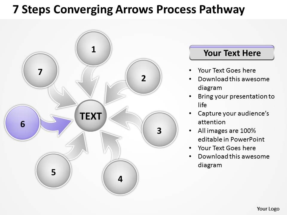 7_steps_coverging_arrows_process_pathway_circular_flow_chart_powerpoint_slides_Slide08