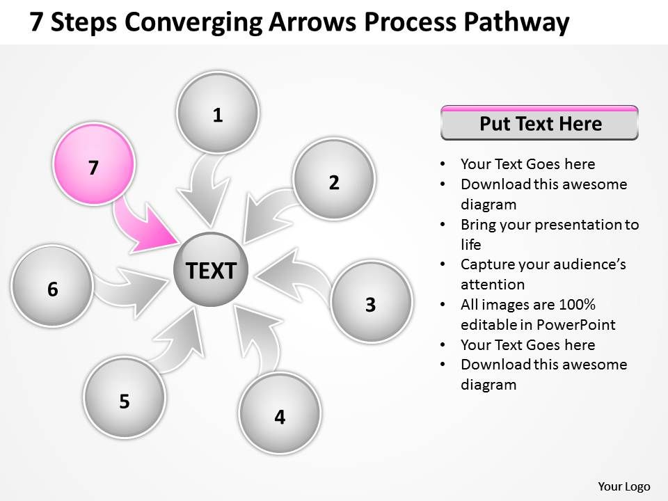 7_steps_coverging_arrows_process_pathway_circular_flow_chart_powerpoint_slides_Slide09