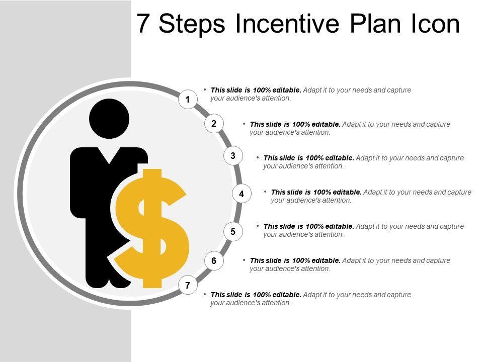 7 Steps Incentive Plan Icon Powerpoint Slide Presentation Sample