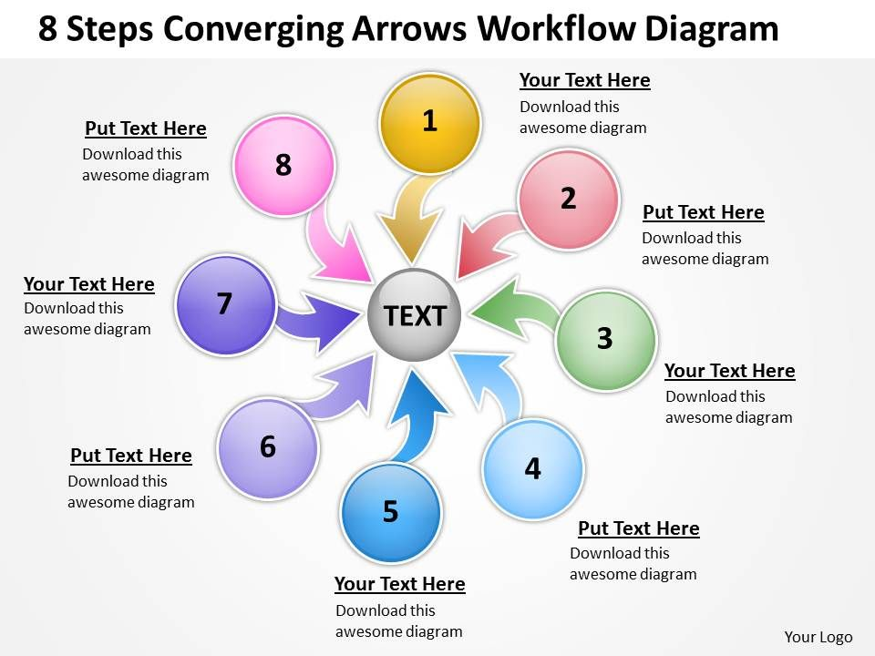 8 Steps Converging Arrows Workflow Diagram Chart Software Powerpoint