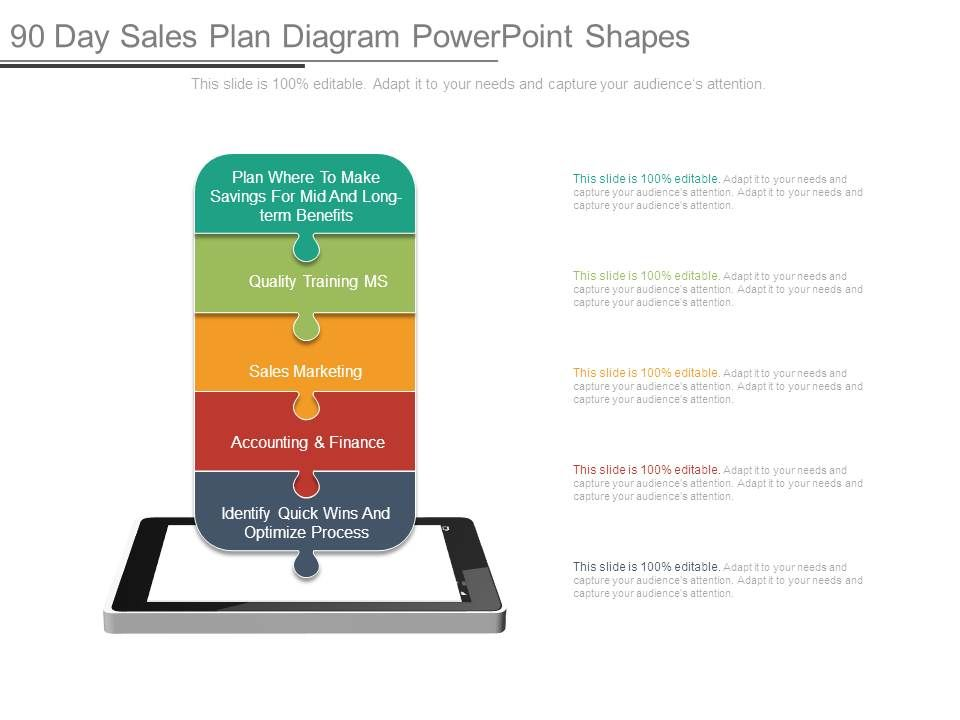 90_day_sales_plan_diagram_powerpoint_shapes_Slide01