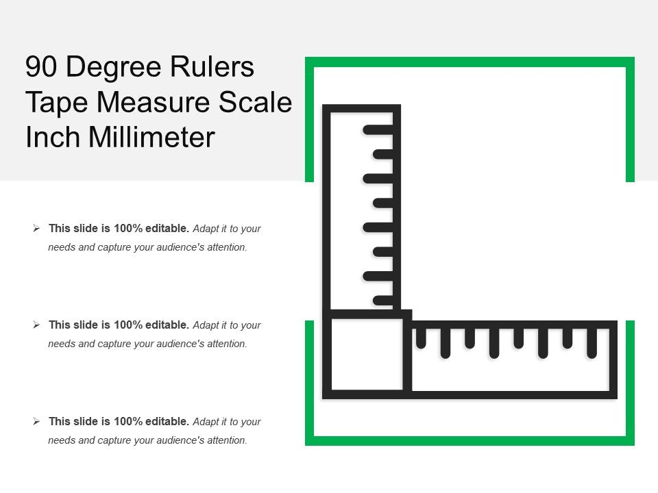 90 Degree Rulers Tape Measure Scale Inch Millimeter | PowerPoint ...