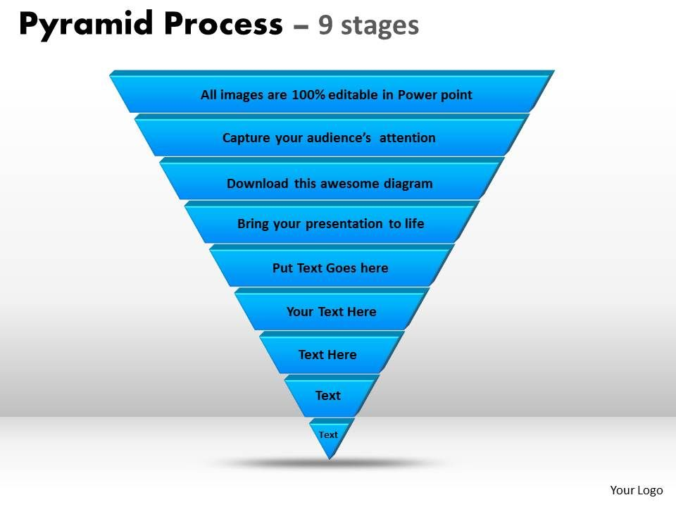9_staged_3d_reverse_triangular_diagram_for_strategy_Slide01