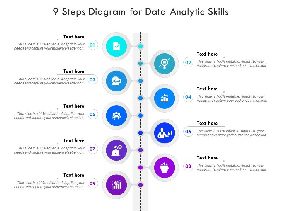 9 Steps Diagram For Data Analytic Skills Infographic Template