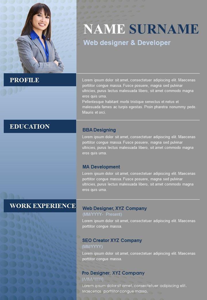 A4 Resume Template For Web Designer And Developer Customizable CV
