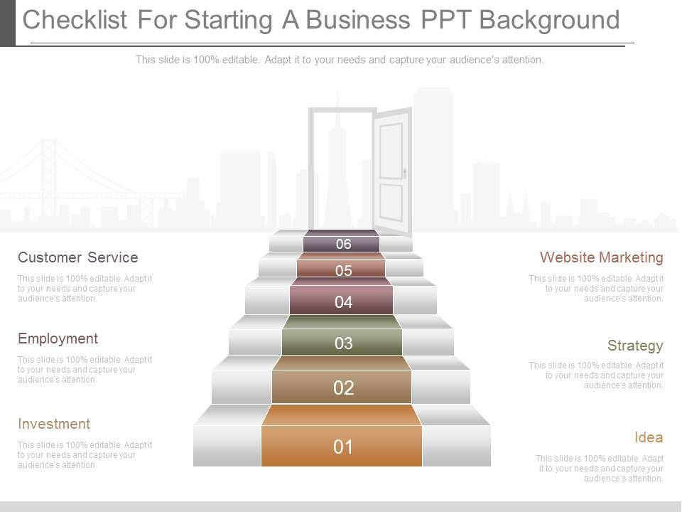 a checklist for starting a business ppt background