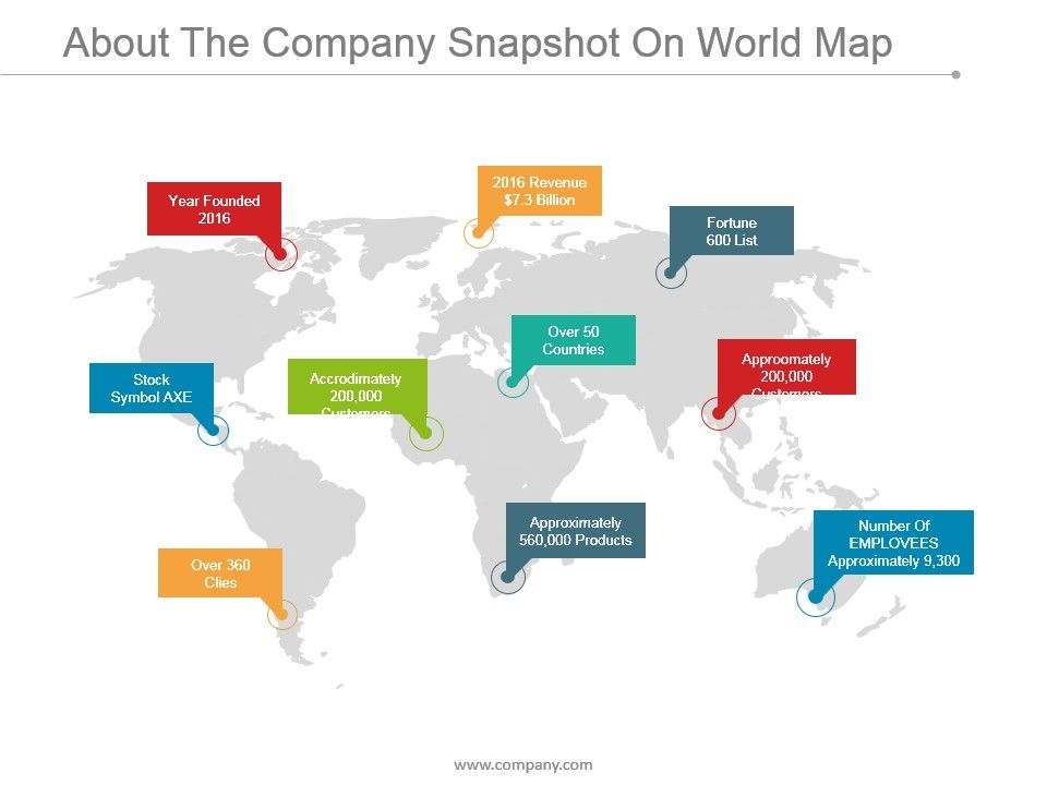 About The Company Snapshot On World Map Point Topics Slide01 Slide02