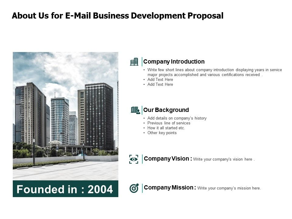About Us For E Mail Business Development Proposal