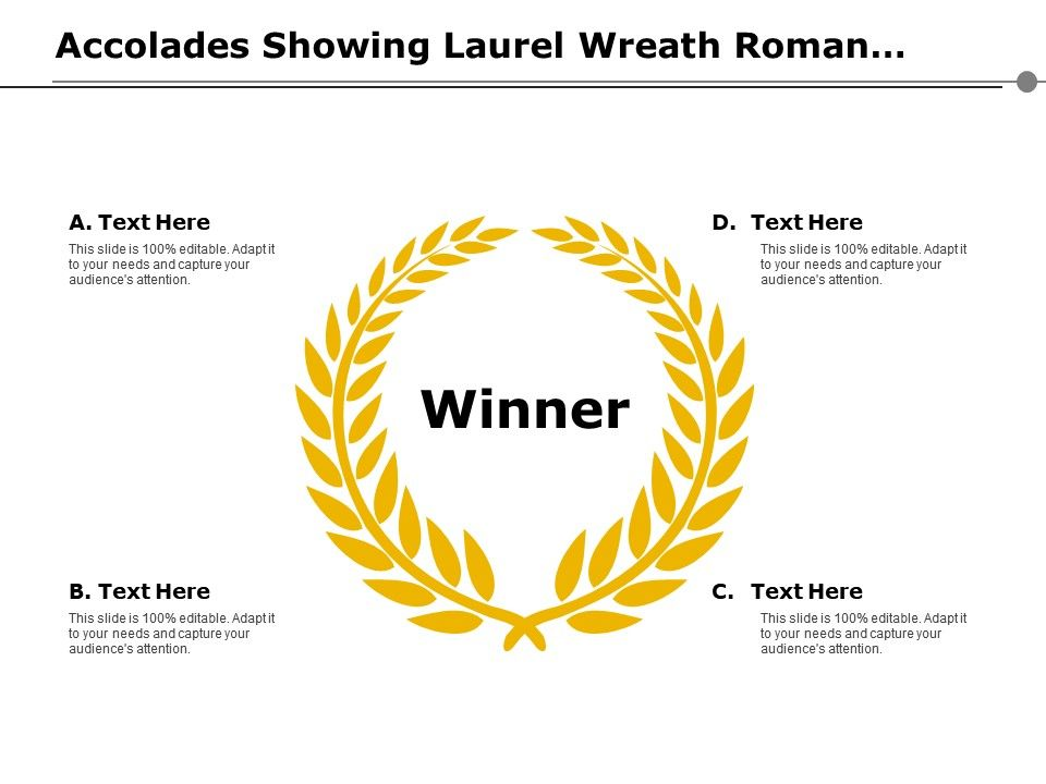 Accolades Showing Laurel Wreath Roman Victory Sign Prize Slide01 Slide02
