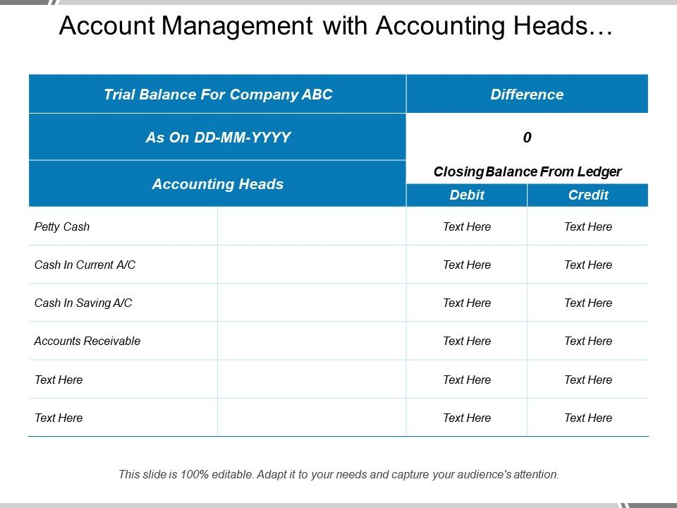 Account Management With Accounting Heads Difference Closing Balance ...