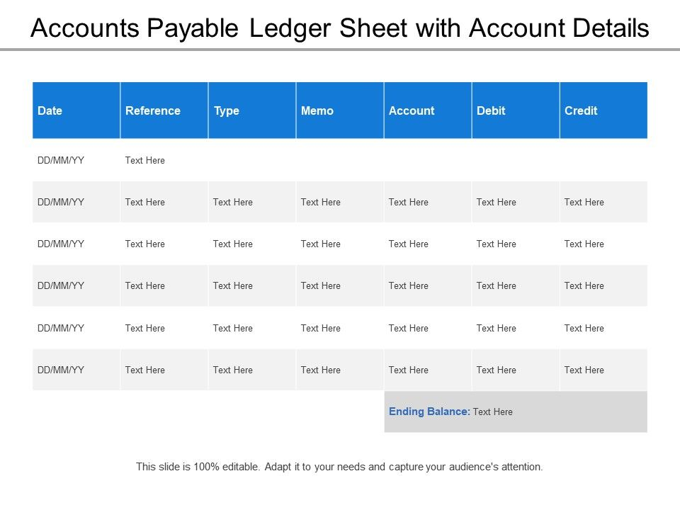 accounts payable ledger sheet with account details powerpoint