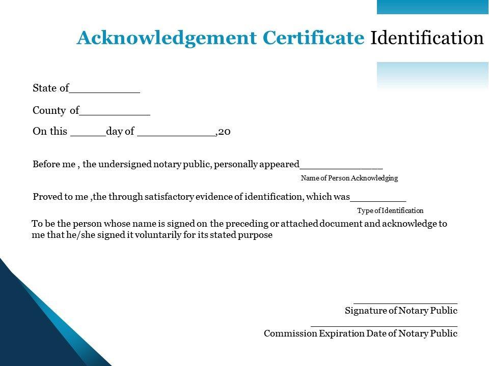 acknowledgement certificate identification document purpose