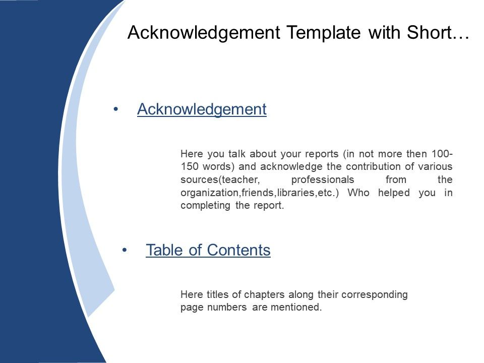 Acknowledgement Template With Short Briefing And Table Of Contents - Table of contents in power point