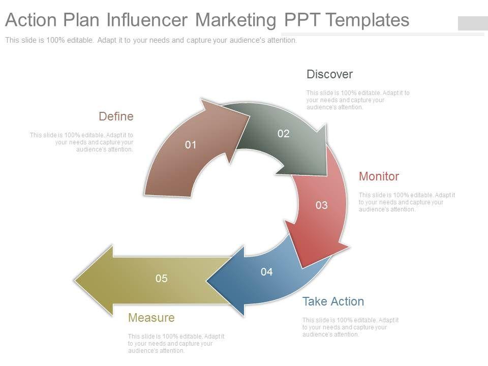 professional strategy presentation showing action plan influencer marketing. Black Bedroom Furniture Sets. Home Design Ideas