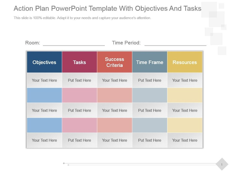 action plan powerpoint template with objectives and tasks