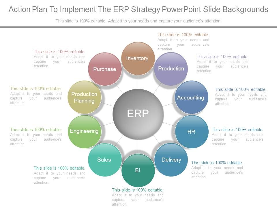 Action Plan To Implement The Erp Strategy Powerpoint Slide