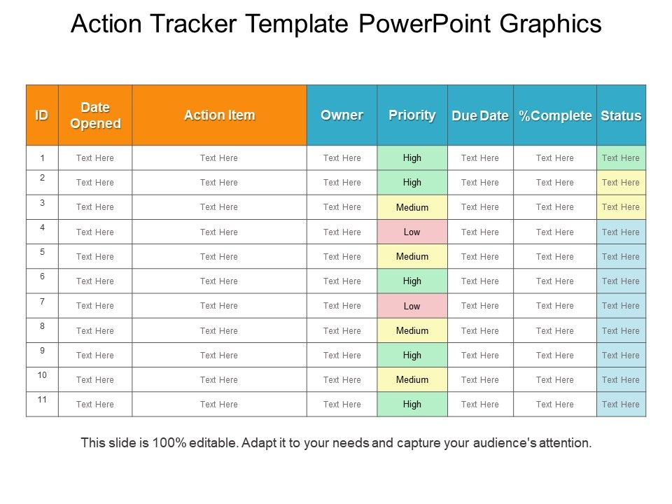Action Tracker Template Powerpoint Graphics | PowerPoint ...