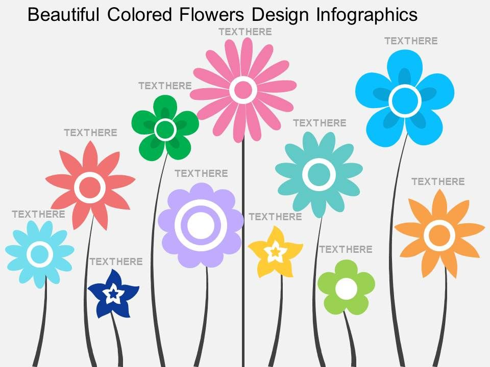 ad beautiful colored flowers design infographics flat powerpoint, Powerpoint templates