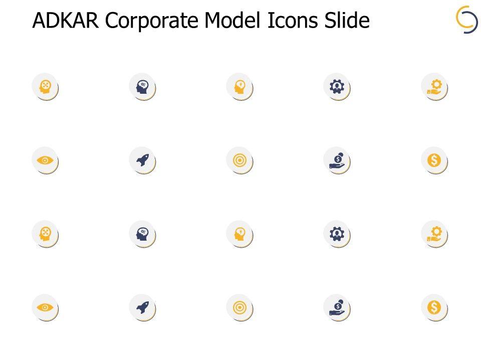 Adkar Corporate Model Icons Slide Vision Ppt Powerpoint Presentation File Deck