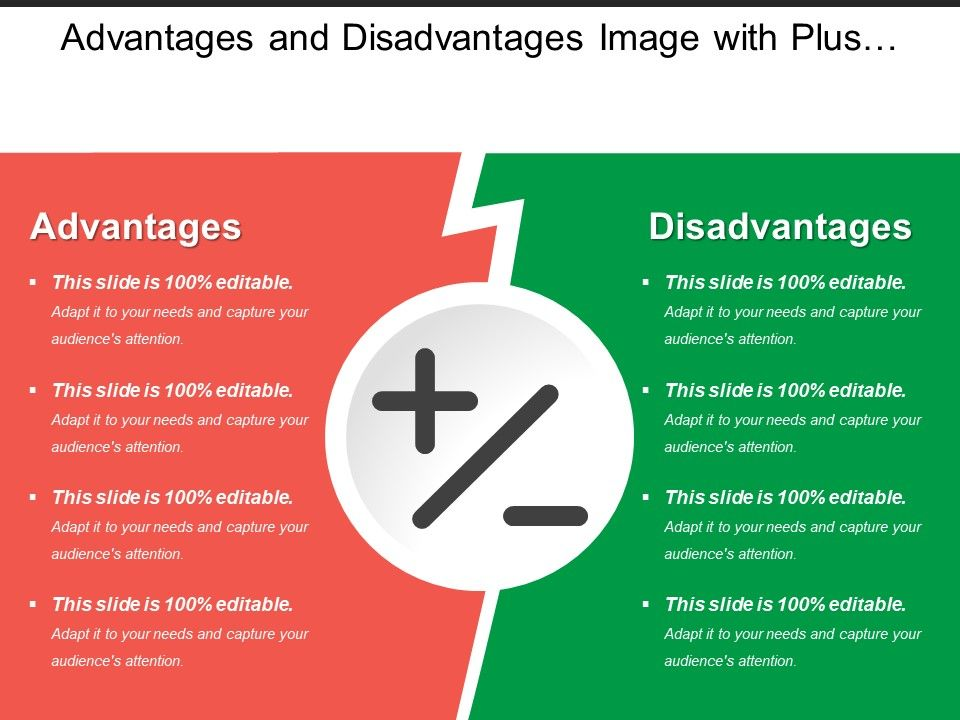 Advantages And Disadvantages Image With Plus And Minus Sign