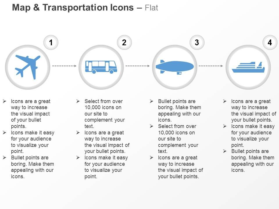 Our aeroplane bus submarine ship ppt icons graphics ensure against any