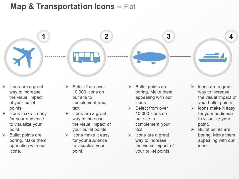 aeroplane bus submarine ship ppt icons graphics | powerpoint, Presentation templates