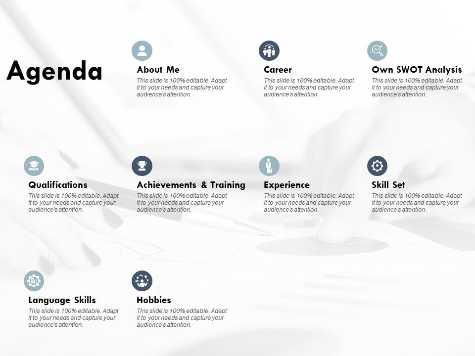 Agenda About Me Experience E164 Ppt Powerpoint Presentation Show Grid