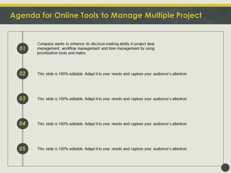 Agenda For Online Tools To Manage Multiple Project Deal Ppt Powerpoint Outline Background
