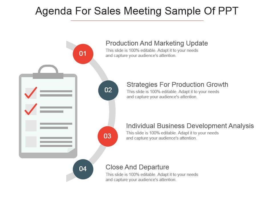 Agenda For Sales Meeting Sample Of Ppt  Powerpoint Slide