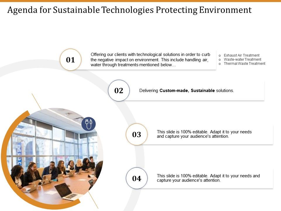 Agenda For Sustainable Technologies Protecting Environment Ppt Samples