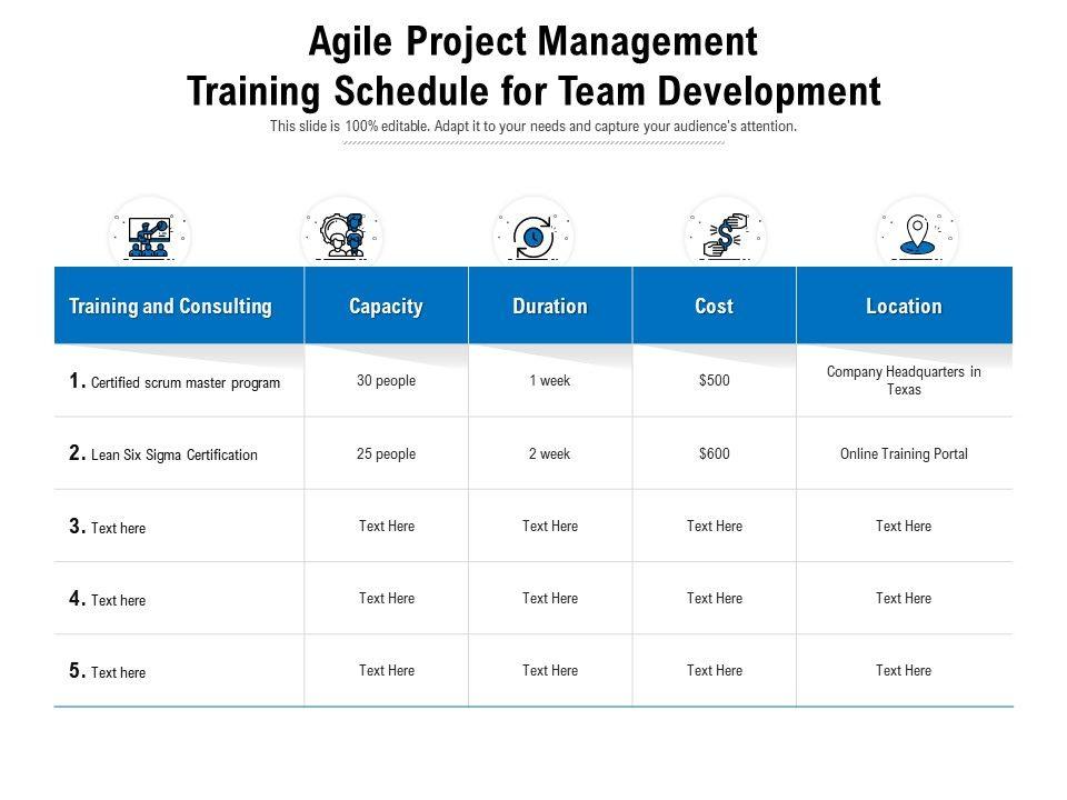 Agile Project Management Training Schedule For Team Development