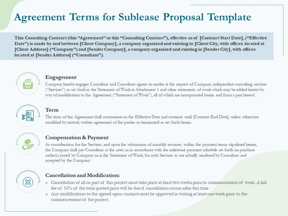 Agreement Terms For Sublease Proposal Template Ppt Powerpoint Gallery Show