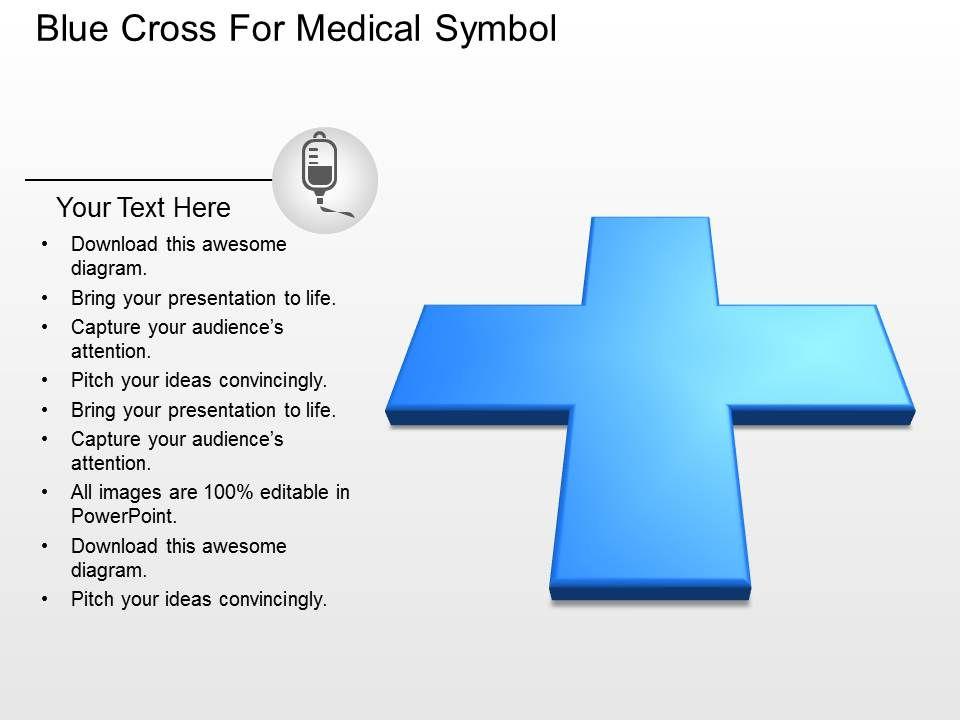 Ah Blue Cross For Medical Symbol Powerpoint Template Slide