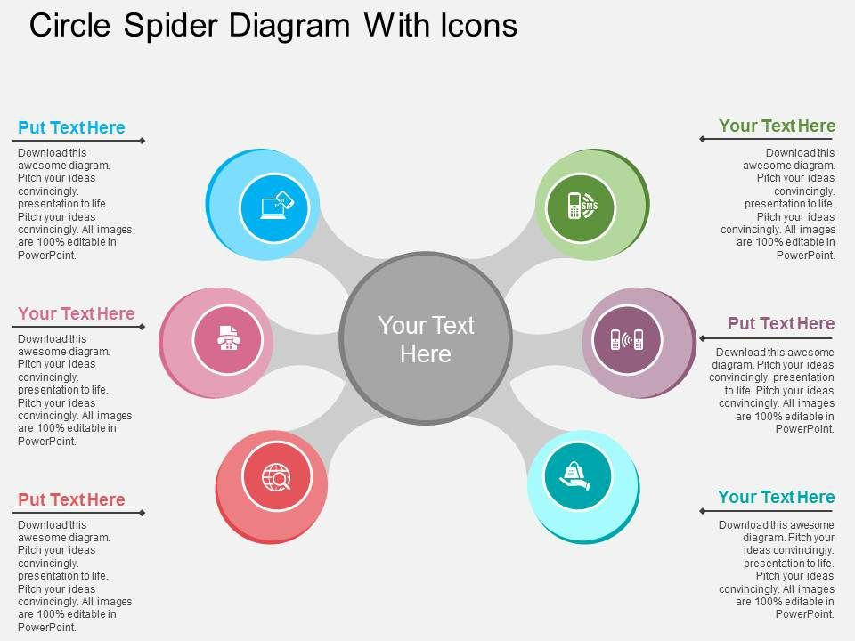 ah circle spider diagram with icons flat powerpoint design