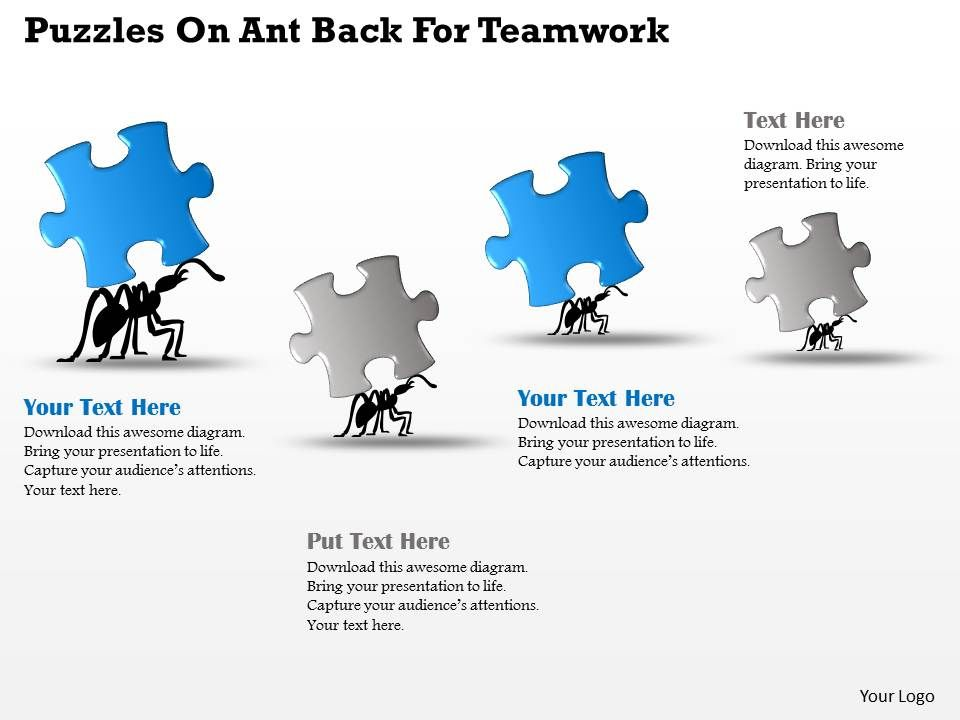 Ah Puzzles On Ant Back For Teamwork Powerpoint Template ...