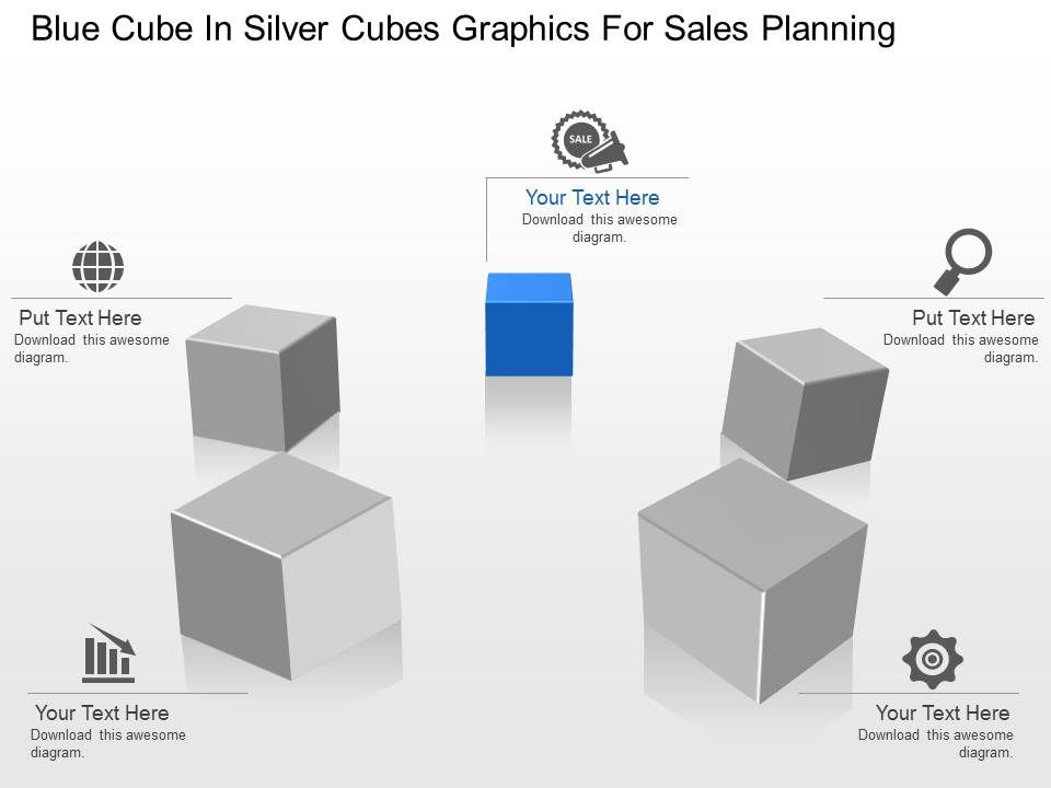 ai blue cube in silver cubes graphics for sales planning powerpoint