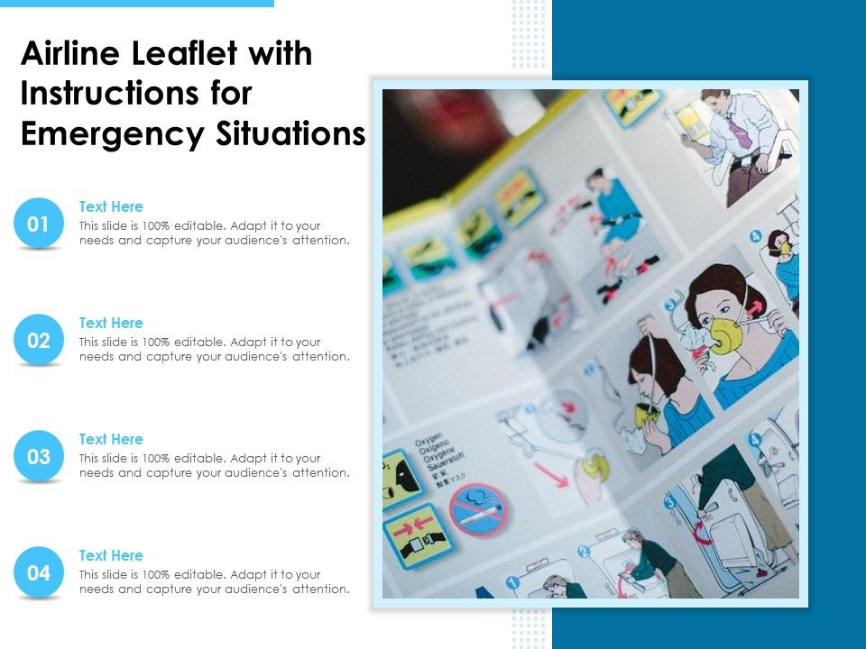 Airline Leaflet With Instructions For Emergency Situations