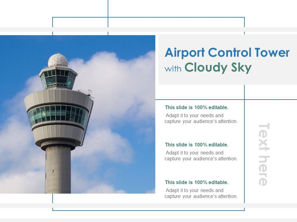 Airport Control Tower With Cloudy Sky