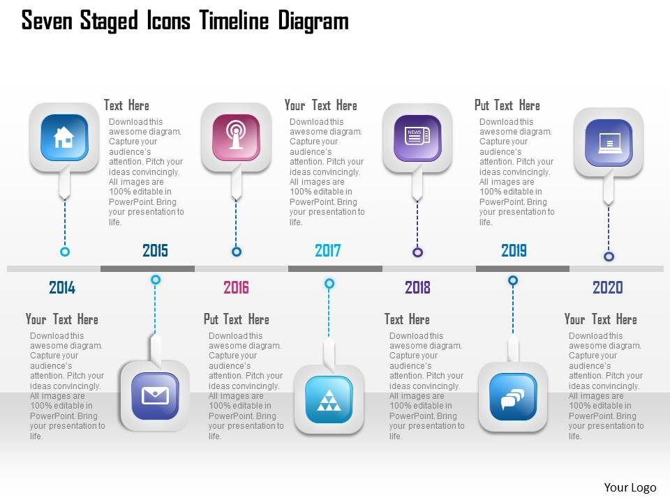 Roadmap Timeline With Five Flags Powerpoint Template