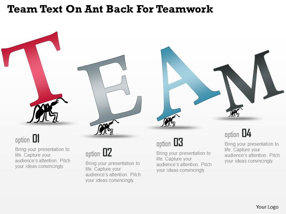 al team text on ant back for teamwork powerpoint template