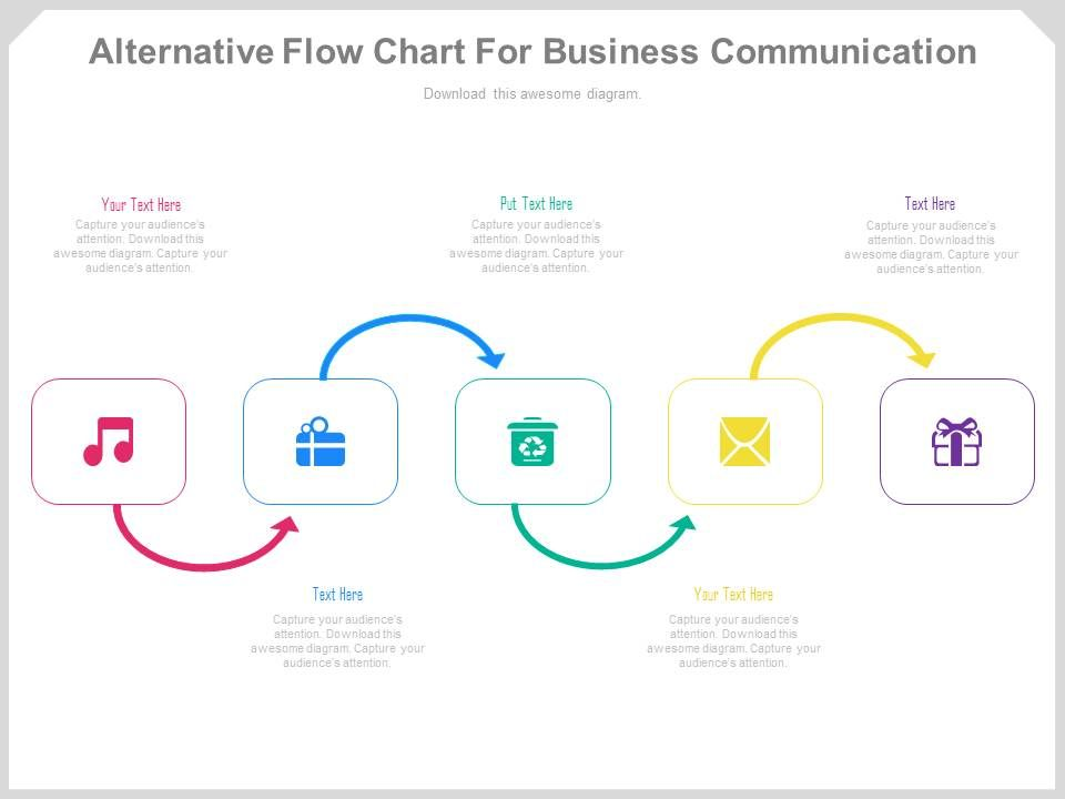 Alternative Flow Chart For Business Communication Powerpoint Slides