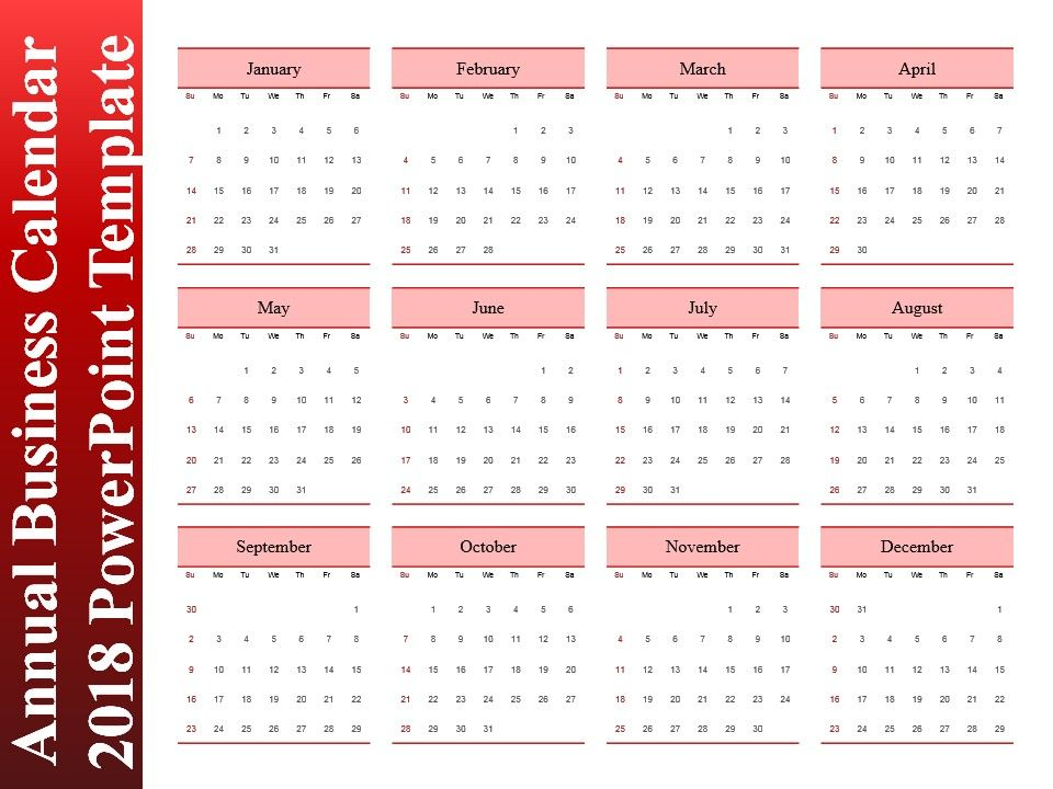 Annual Business Calendar  Powerpoint Template  Powerpoint Slide