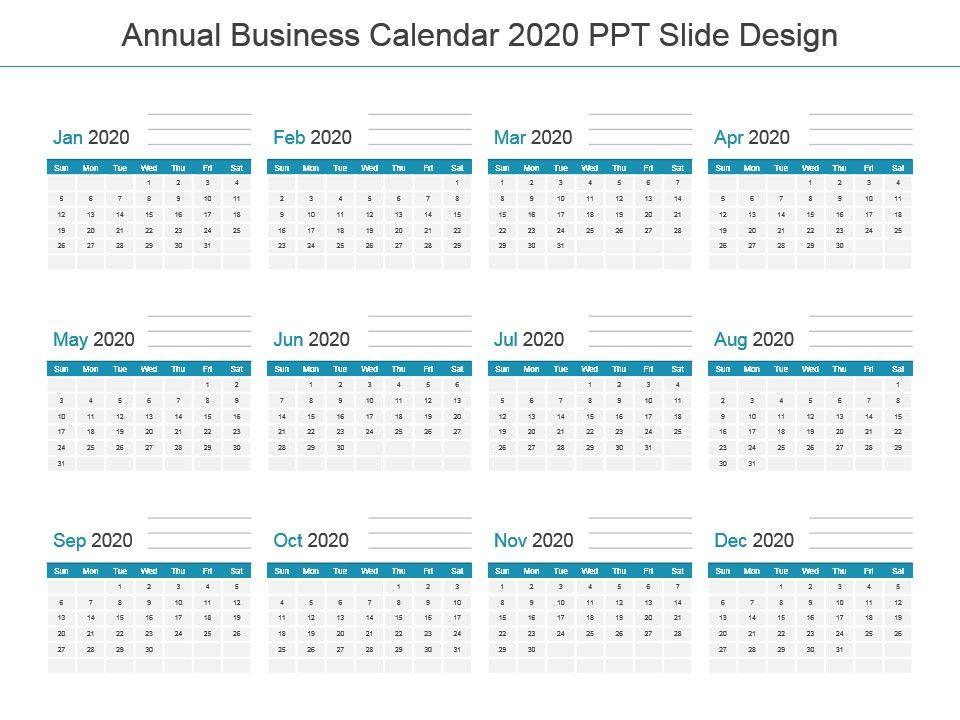 Powerpoint Calendar 2020 Annual Business Calendar 2020 Ppt Slide Design | PowerPoint