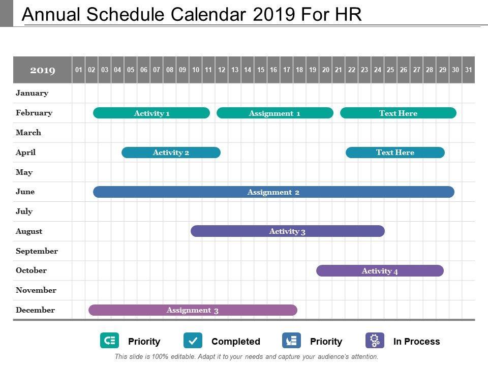 annual schedule calendar 2019 for hr