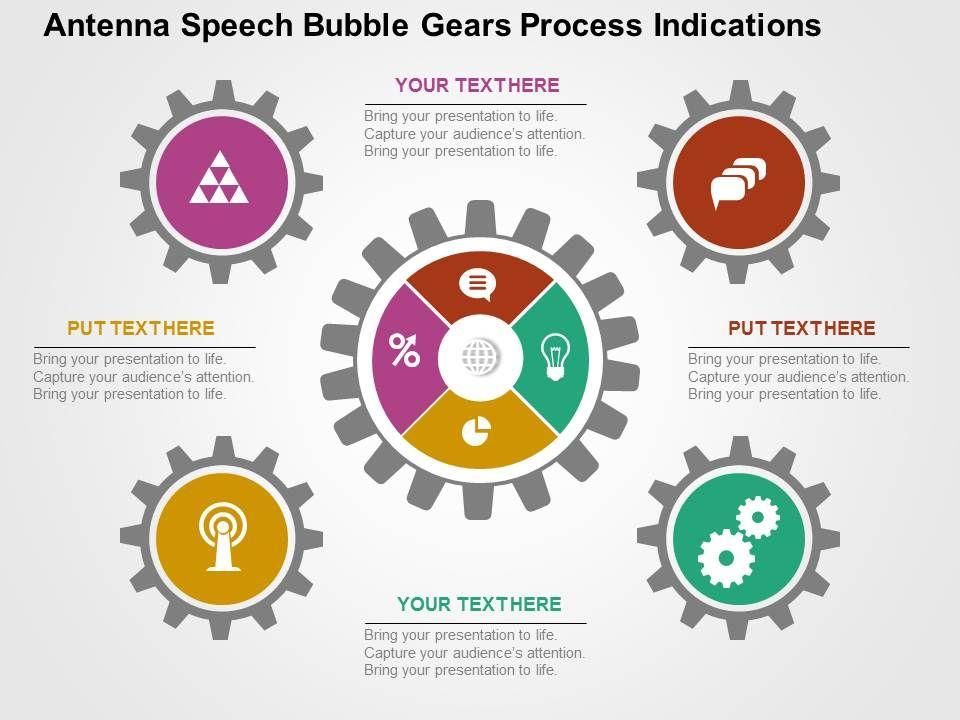 antenna speech bubble gears process indications flat powerpoint, Powerpoint templates