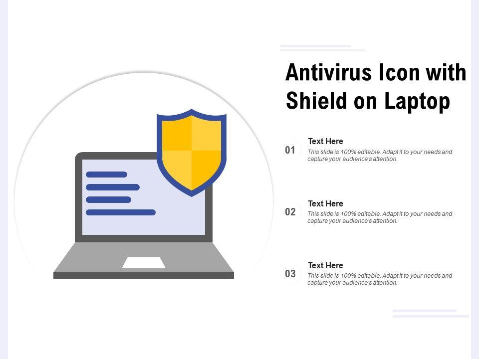 Antivirus Icon With Shield On Laptop