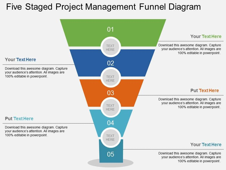 ao_five_staged_project_management_funnel_diagram_flat_powerpoint_design_Slide01