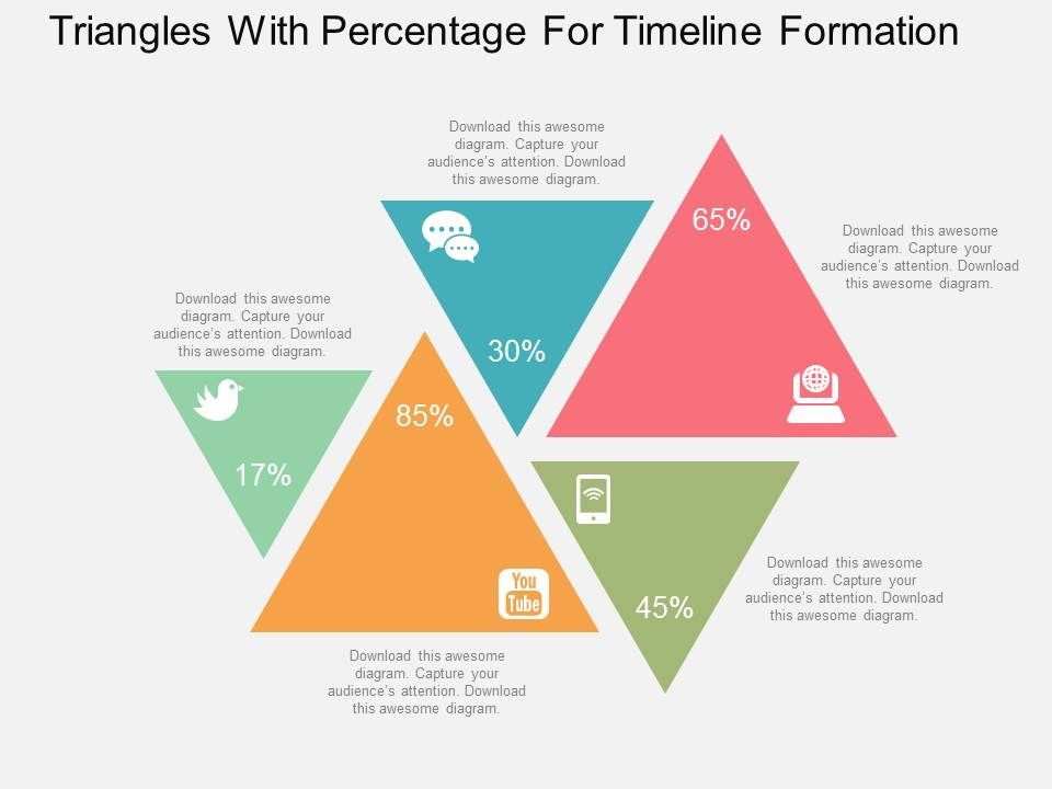 app_triangles_with_percentage_for_timeline_formation_flat_powerpoint_design_Slide01
