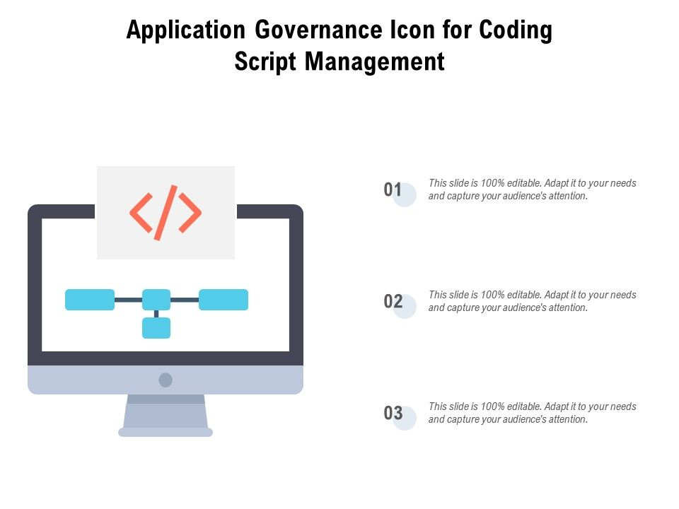 Application Governance Icon For Coding Script Management