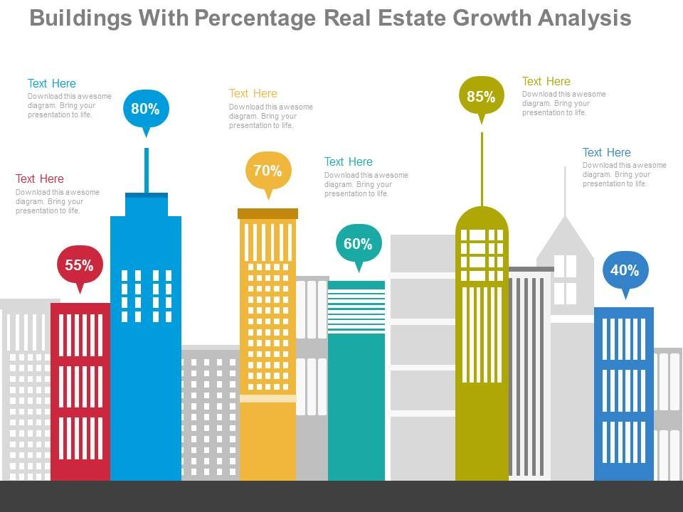 apt_buildings_with_percentage_real_estate_growth_analysis_flat_powerpoint_design_Slide01